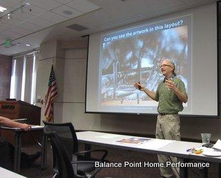 Gavin of Balance Point Home Performance teaching a class at Sacramento Municipal Utility District (SMUD)